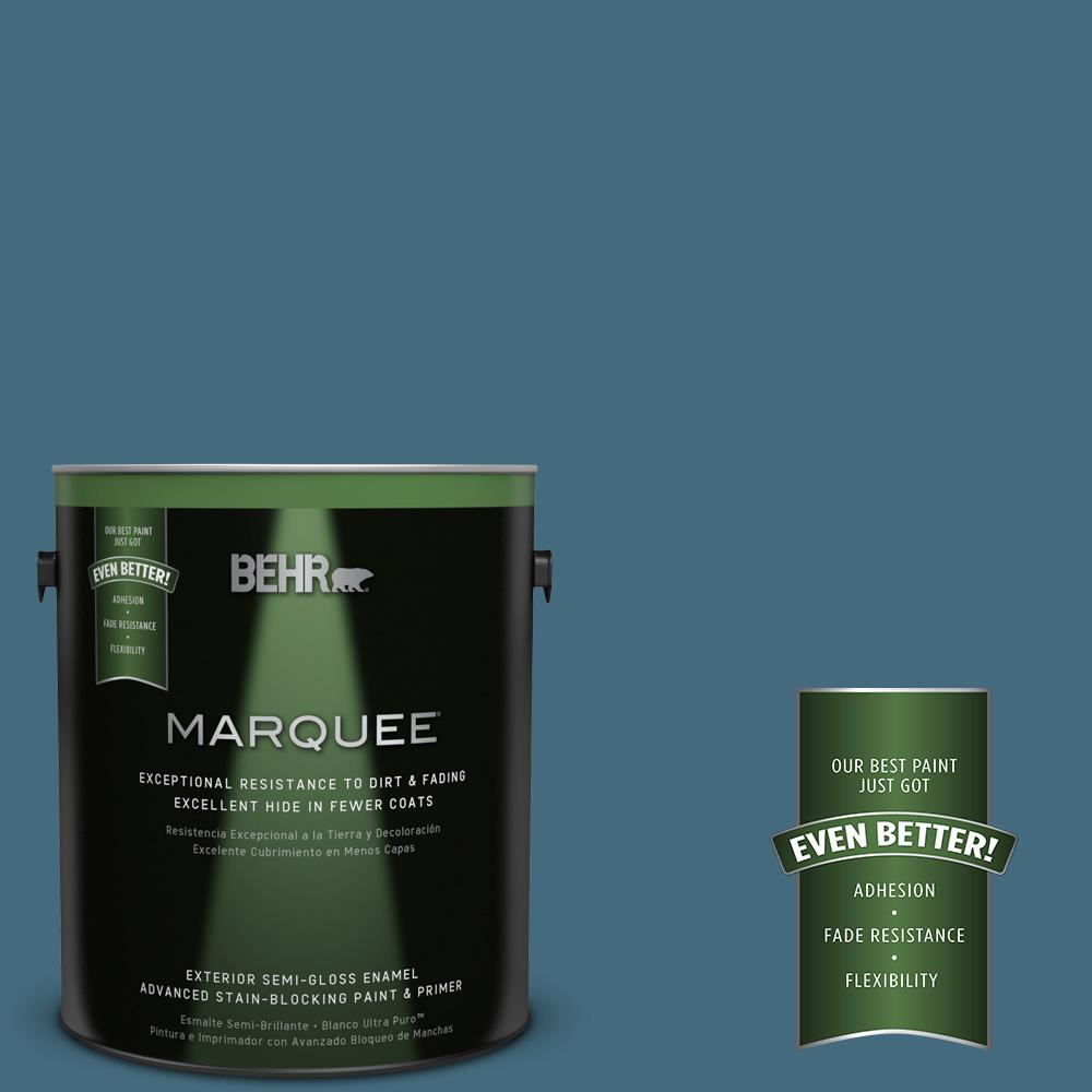 BEHR MARQUEE 1-gal. #550F-6 Regatta Bay Semi-Gloss Enamel Exterior Paint