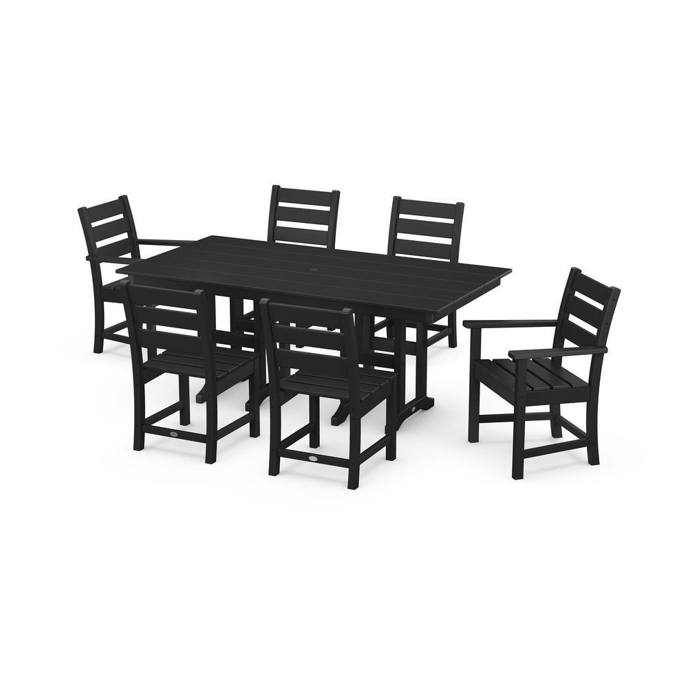 Grant Park Black 7-Piece Plastic Rectangular Outdoor Dining Set