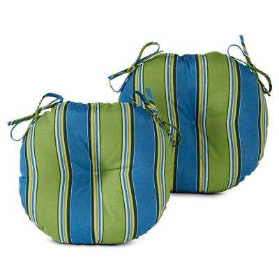 Cayman Stripe 15 in. Round Outdoor Seat Cushion (2-Pack)
