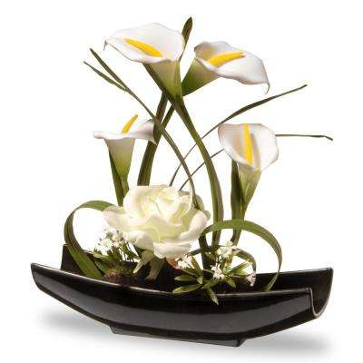 11 in. White Rose and Calla Lily Flowers