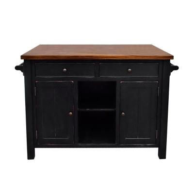 Atlantic Black Kitchen Island with Overhang
