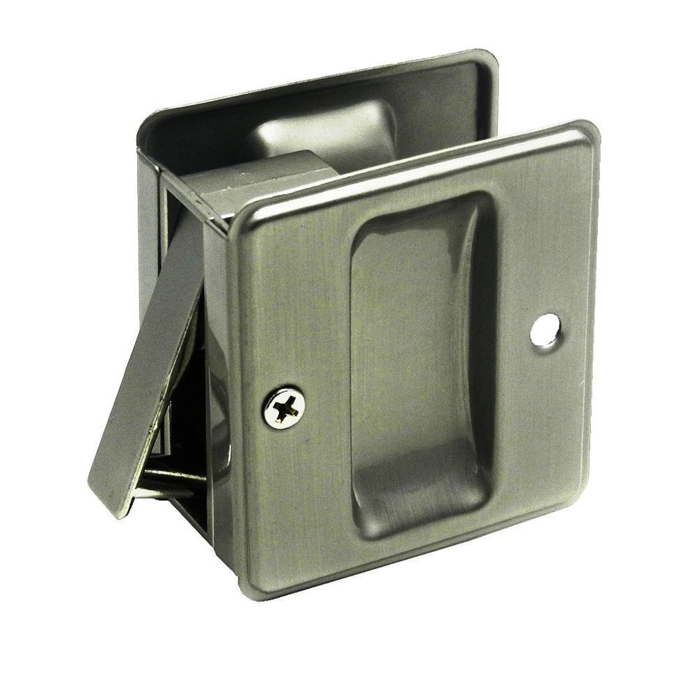 2-4/4 in. Pocket Door Satin Nickel Passage Lock