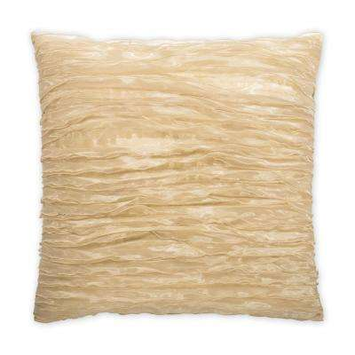 Ruffles Gold Feather Down 24 in. x 24 in. Standard Decorative Throw Pillow