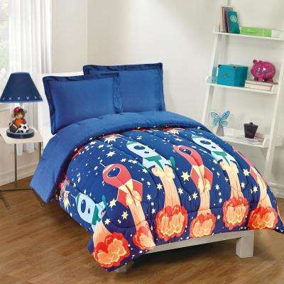 Blast Off 3-Piece Navy Full Comforter Set