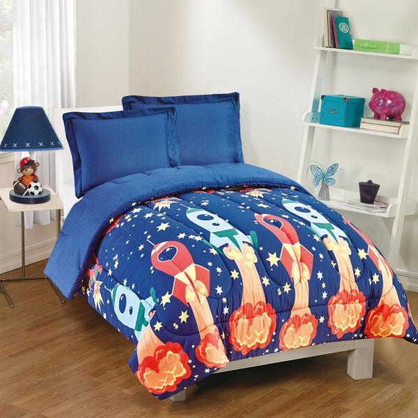 Gizmo Kids Blast Off 3-Piece Navy Full Comforter Set GK23BO0002