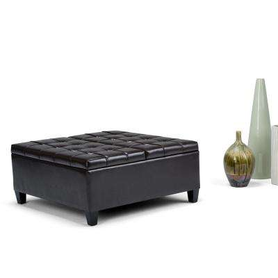 Harrison Tanners Brown PU Faux Leather Storage Ottoman
