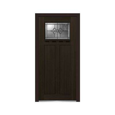 36 in. x 80 in. Dahlia Right-Hand Inswing 1-Lite Decorative Craftsman Stained Fiberglass Fir Prehung Front Door w/ Shelf