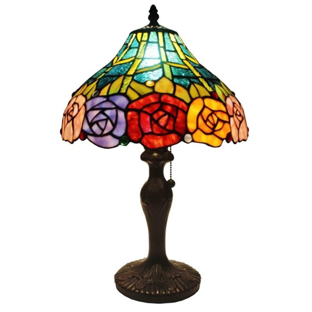 Amora Lighting 19 In Tiffany Style Roses Table Lamp Am036tl12 The