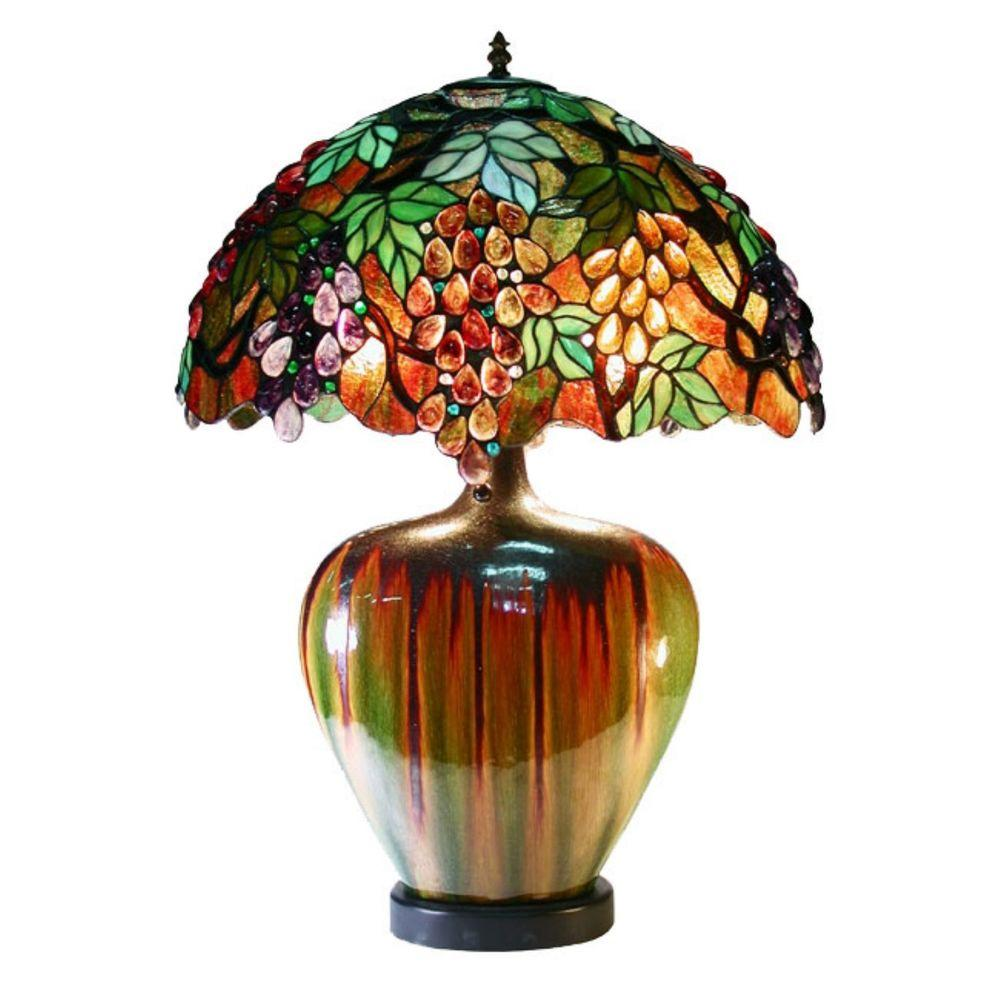 24 in. Grape Multicolored Brown Table Lamp