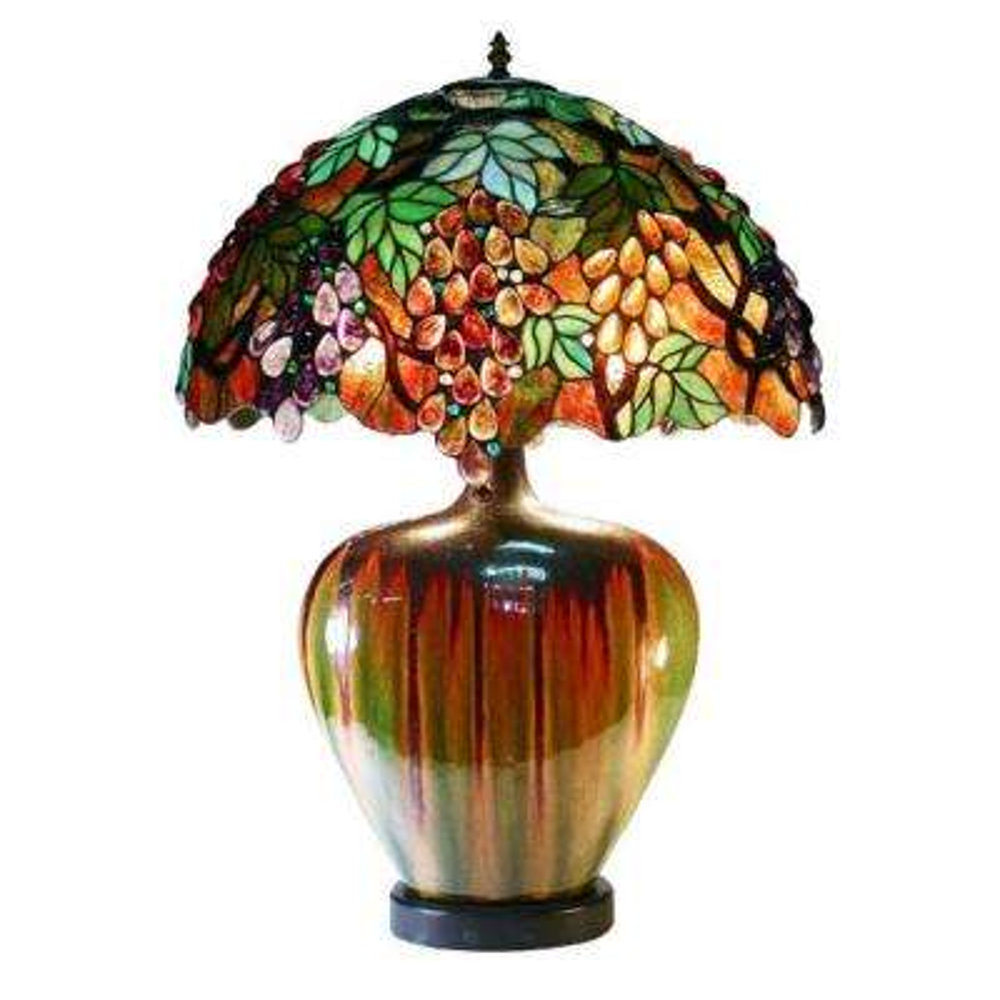 24 in. Grape Multicolored Brown Table Lamp