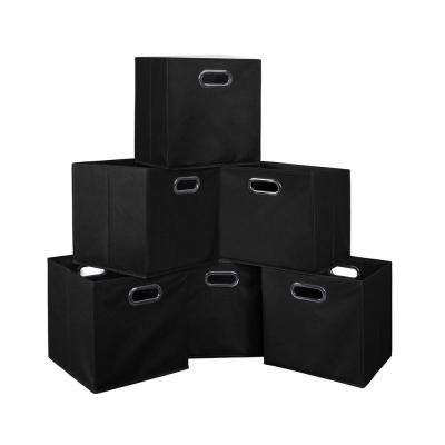 Cubo 12 in. x 12 in. Black Foldable Fabric Bin (6-Pack)