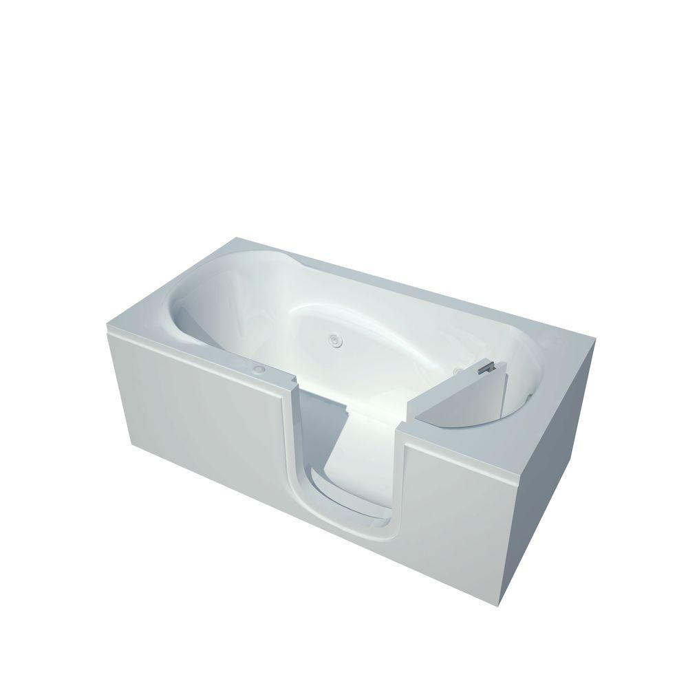 Universal Tubs 5 ft. Right Drain Step-In Whirlpool Bath Tub in White