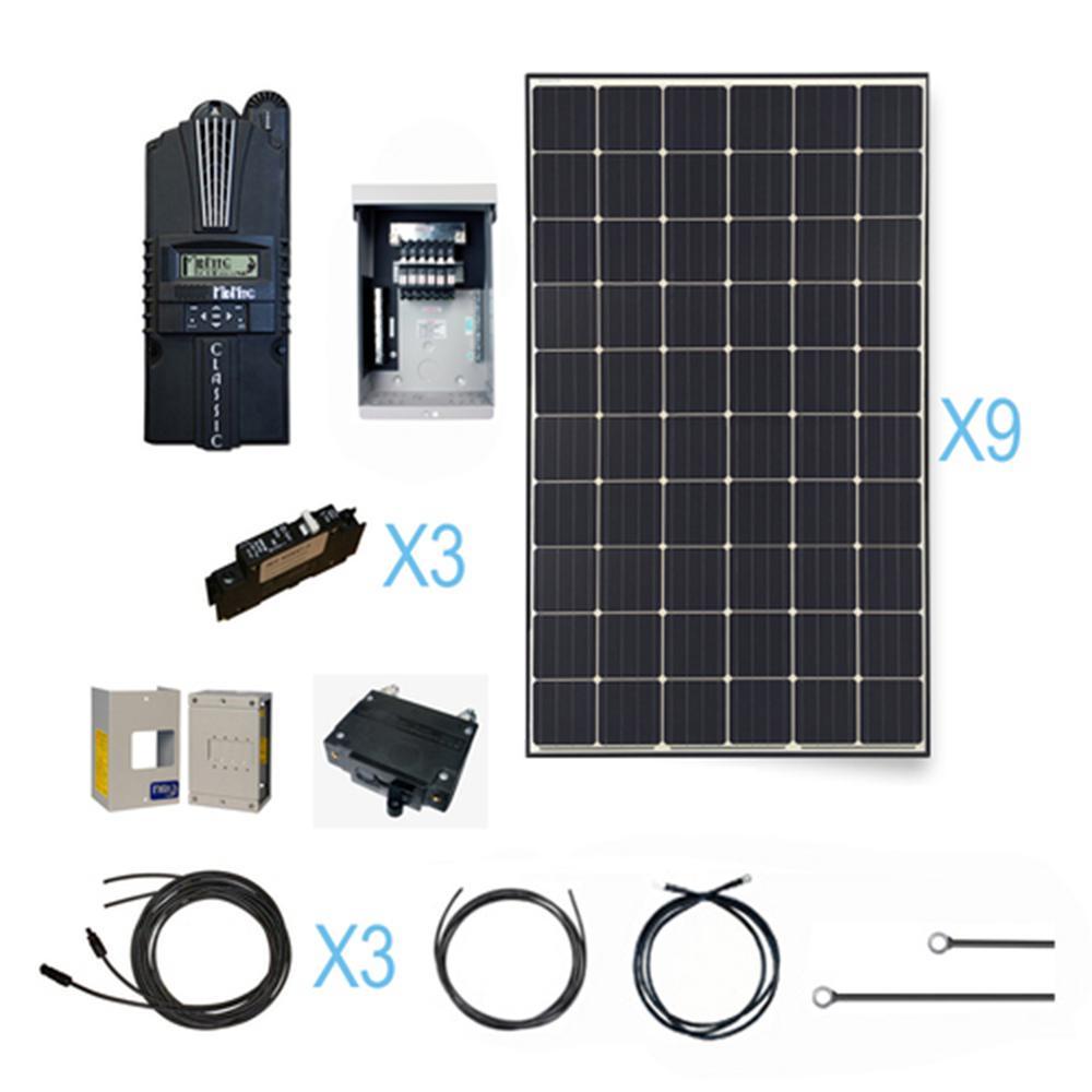 2700-Watt 48-Volt Monocrystalline Solar Cabin Kit for Off-Grid Solar System