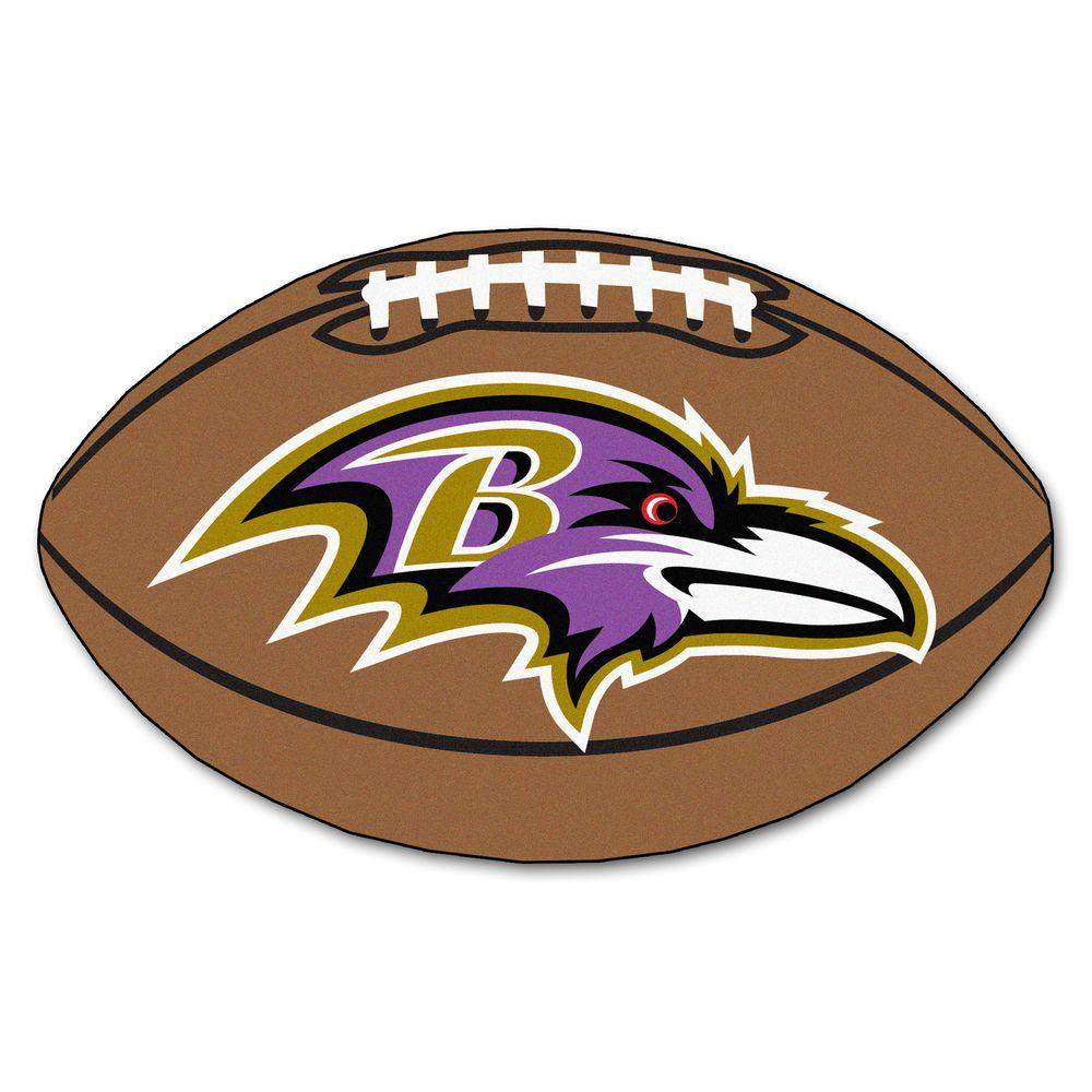 06650d94 FANMATS NFL Baltimore Ravens Brown 2 ft. x 3 ft. Specialty Area Rug
