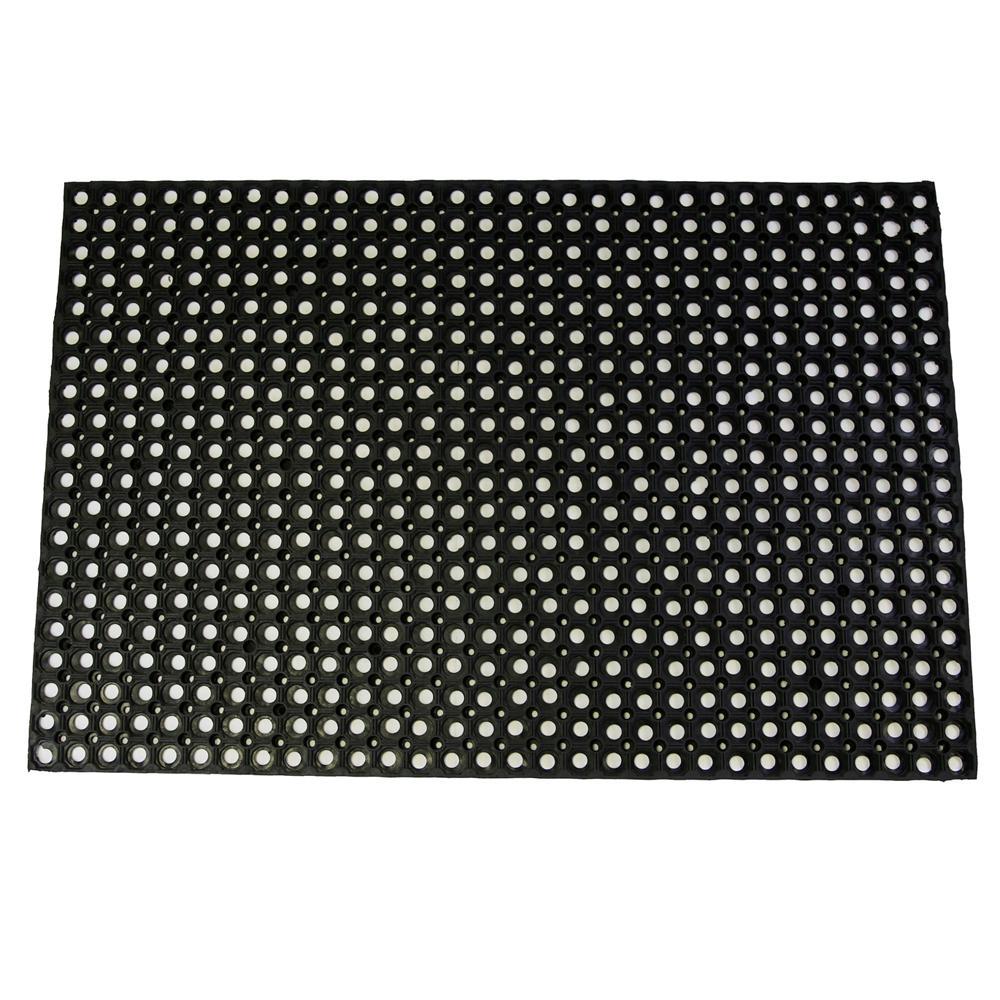 Hollow Design Black 59 In X 39 Rubber Outdoor Indoor Floor Mat