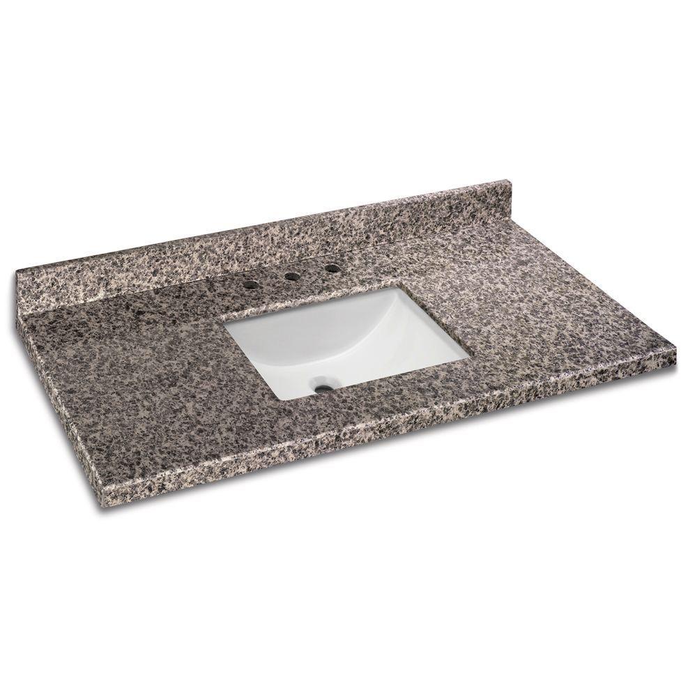 49 in. W x 22 in. D Granite Vanity Top in Sircolo with White Single Trough Basin