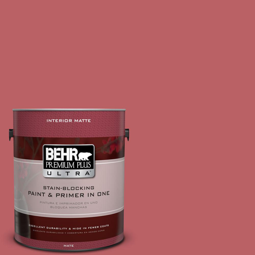 BEHR Premium Plus Ultra 1 gal. #150D-6 Strawberry Rhubarb Matte Interior Paint and Primer in One
