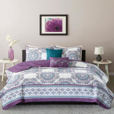Mikay 4-Piece Purple Twin/Twin XL Medallion Coverlet Set