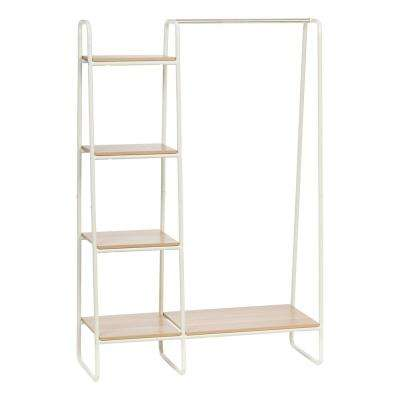 White And Light Brown Metal Garment Rack With Wood Shelves