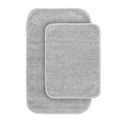 Traditional Platinum Gray 21 in. x 34 in. Washable Bathroom 2 -Piece Rug Set