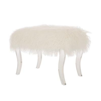 24.02 in. White Faux Fur Upholstered Bench with Acrylic Legs