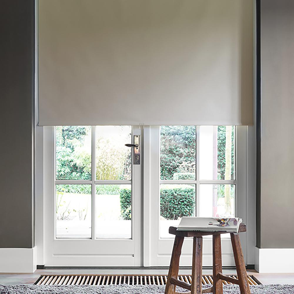 Cut To Width Beige Polyester Blackout Spring Roller Shade 31 5 In W