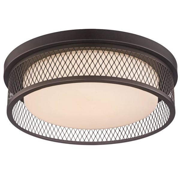 15 in. 26-Watt Equivalent Rubbed Oil Bronze Integrated LED Flush Mount Ceiling Light with Metal Shade