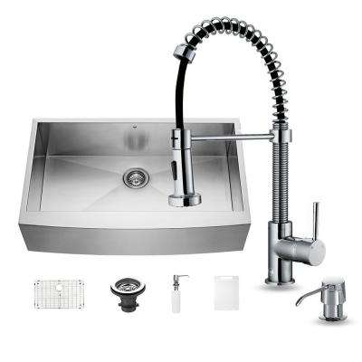 All-in-One Farmhouse Apron Front Stainless Steel 36 in. Single Bowl Kitchen Sink and Faucet Set