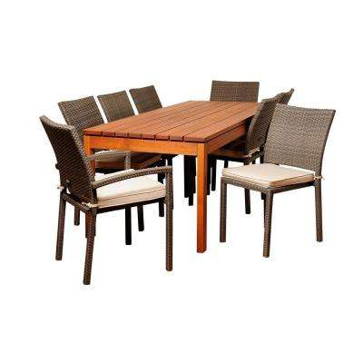 Marchello 9-Piece Wood Outdoor Dining Set with Grey Cushions