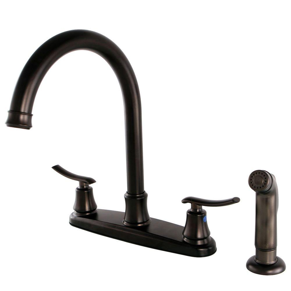 Kingston Brass Victorian 2-Handle Standard Kitchen Faucet with Side ...