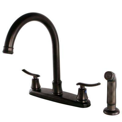 Euro 2-Handle Standard Kitchen Faucet with Side Sprayer in Oil Rubbed Bronze