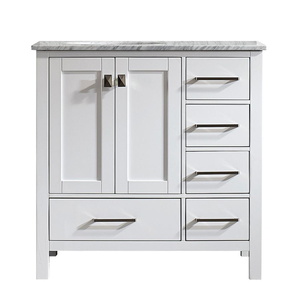 Gela 36 in. W x 22 in. D x 35 in. H Vanity In White with Marble Vanity Top in White with Basin