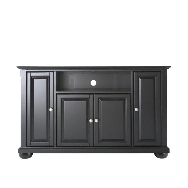 Alexandria 48 in. Black Wood TV Stand Fits TVs Up to 50 in. with Storage Doors