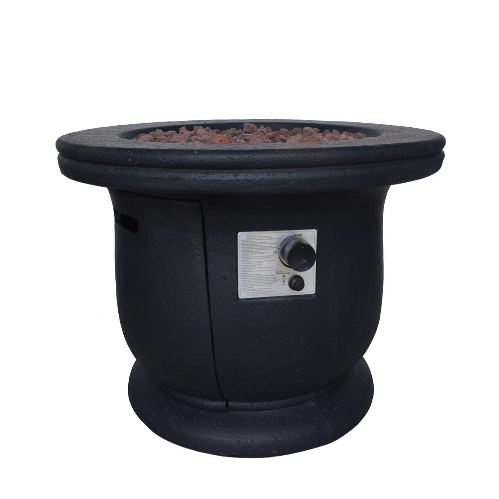 Noble House Theodore 31 in. x 24 in. Circular Concrete LPG Fire Pit in Dark Grey