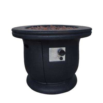 Theodore 31 in. x 24 in. Circular Concrete LPG Fire Pit in Dark Grey