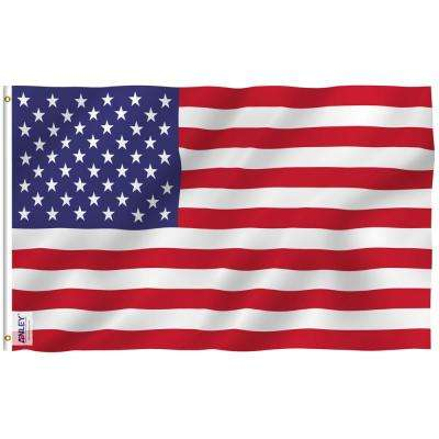 Fly Breeze 3 ft. x 5 ft. Polyester USA American United States 2-Sided Flag Banner with Brass Grommets and Canvas Header