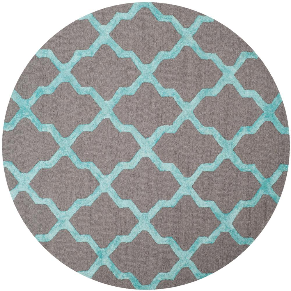 safavieh cambridge gray turquoise 6 ft x 6 ft round area rug cam155a 6r the home depot. Black Bedroom Furniture Sets. Home Design Ideas