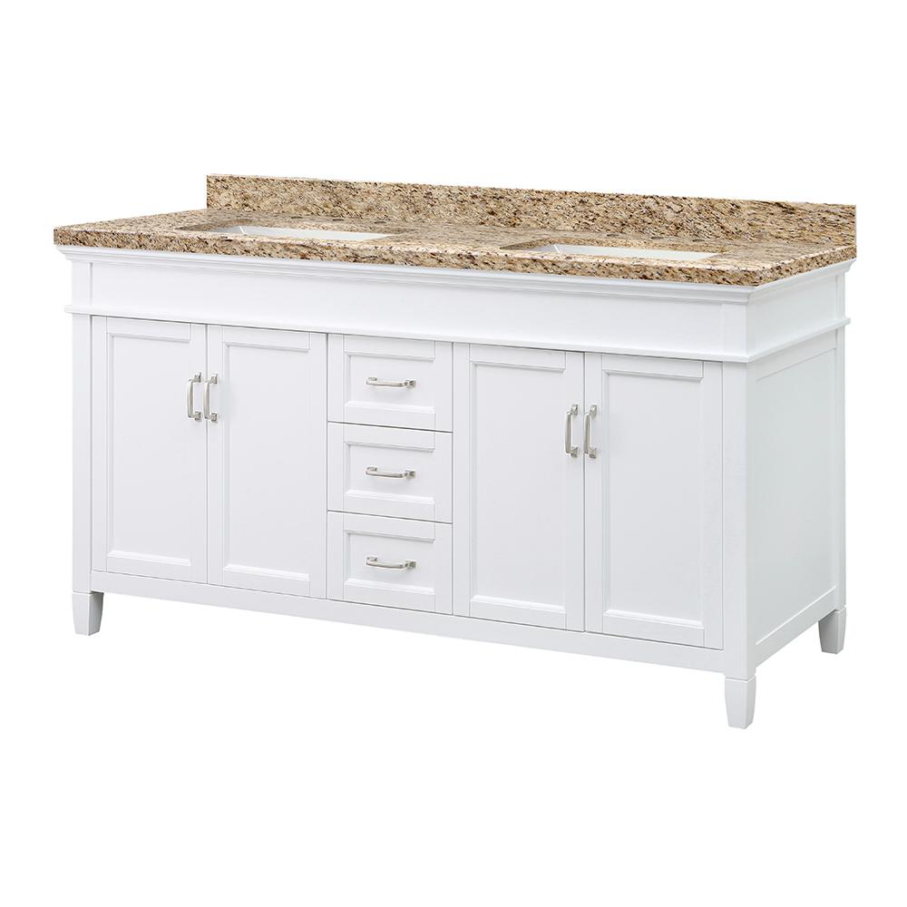 Home Decorators Collection Ashburn 61 in. W x 22 in. D Vanity in White with Granite Vanity Top in Giallo Ornamental with White Sink