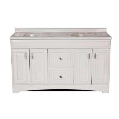 Vanity In White With Cultured Marble Vanity Top In White