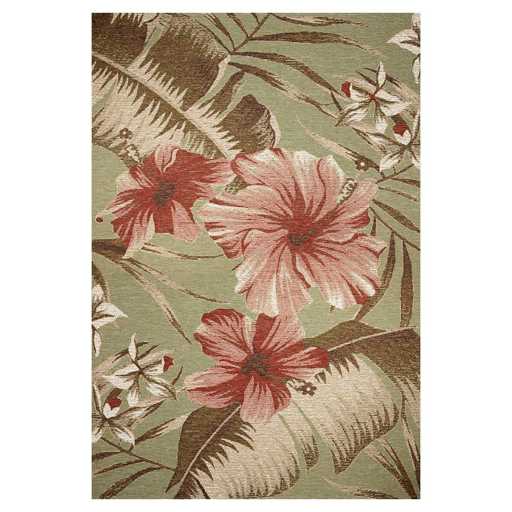 Kas Rugs Hibiscus Sage 3 ft. 4 in. x 4 ft. 11 in. Area Rug