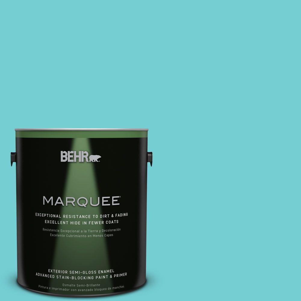 1-gal. #P460-3 Soft Turquoise Semi-Gloss Enamel Exterior Paint