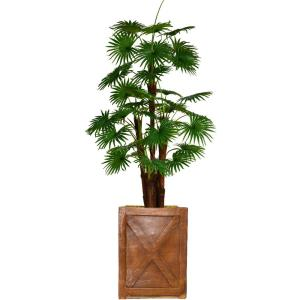 75 in. Tall Fan Palm Tree Artificial Dcor Faux Burlap Kit and Fiberstone Planter