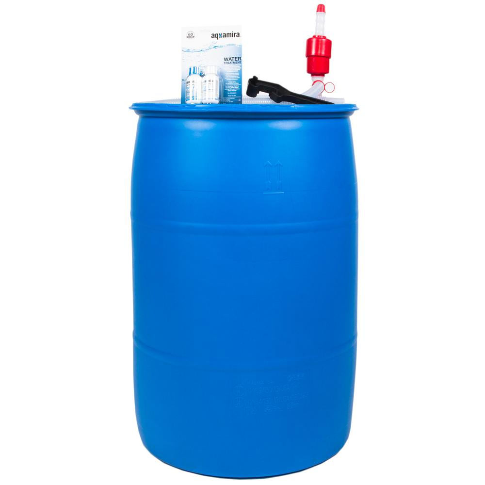 AUGASON FARMS Emergency Water Filtration and Storage Kit 55 Gal. Barrel Water Purification Drops Pump & Hose