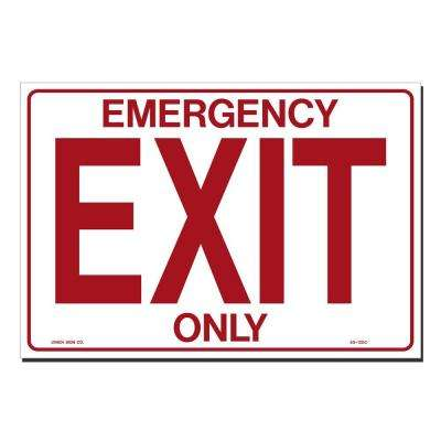 14 in. x 10 in. Decal Red on White Sticker Emergency Exit Only