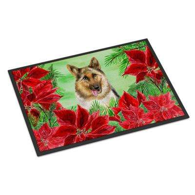 18 in. x 27 in. Indoor/Outdoor German Shepherd Poinsettas Door Mat