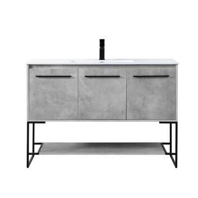 Timeless Home 48 in. W x 18.31 in. D x 33.46 in. H Single Bathroom Vanity in Concrete Grey with Porcelain