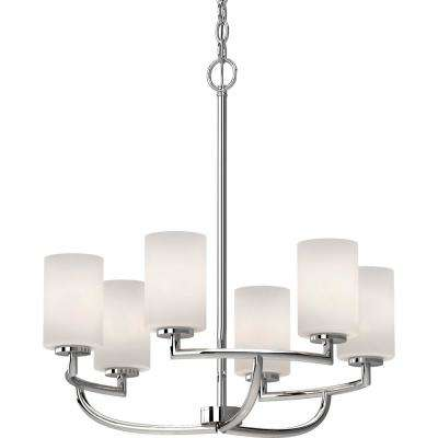 Sharyn 6-Light Chrome Chandelier with Etched White Cased Glass
