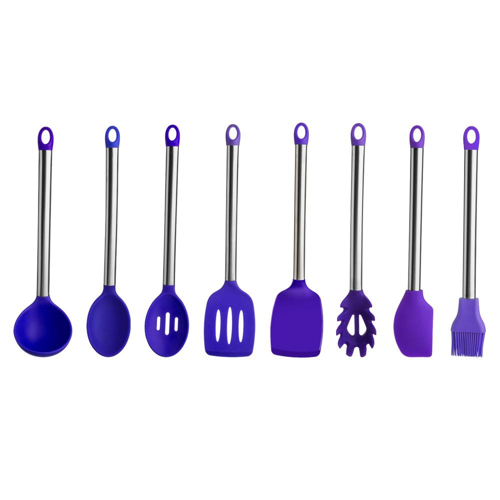 8-Pieces Stainless Steel Handle Silicone Utensil Set in Purple