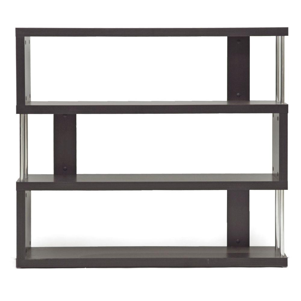 Barnes Dark Brown Wood 3-Tier Open Shelf