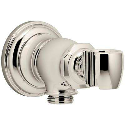 Artifacts Wall-Mount Handshower Holder and Supply Elbow in Vibrant Polished Nickel